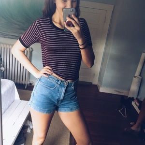 PACSUN size S striped cropped tee